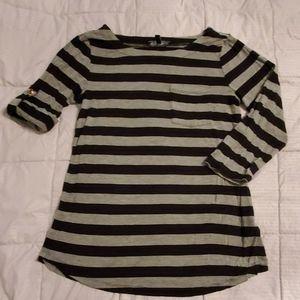 Grey and Black Striped Shirt